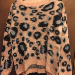 light coral/peach animal print sweater, new !
